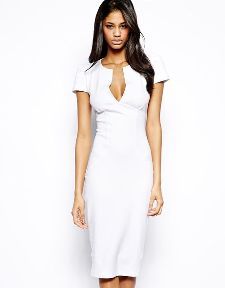 Asos Sexy Pencil Dress In White Lyst