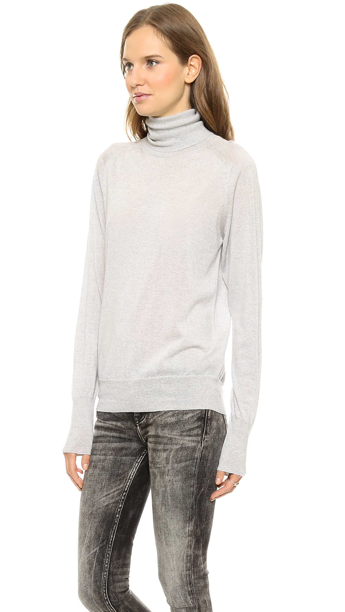 6397 Turtleneck Sweater Light Grey Heather in Gray | Lyst