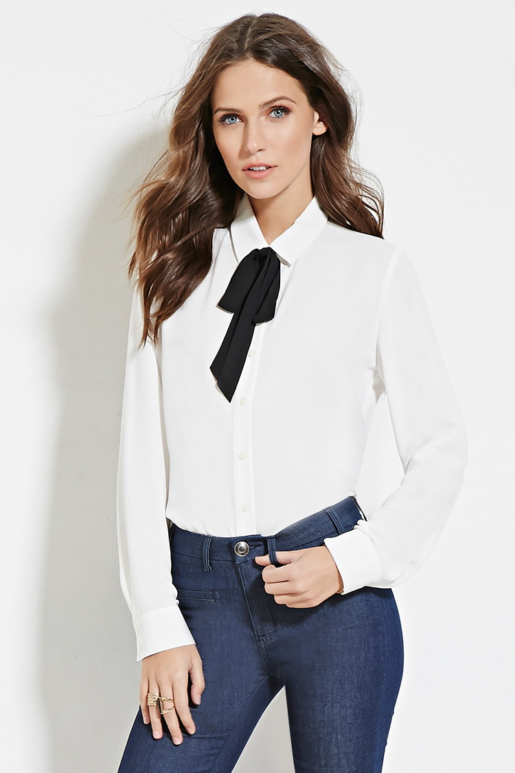 Forever 21 Bow Collar Shirt In White Lyst