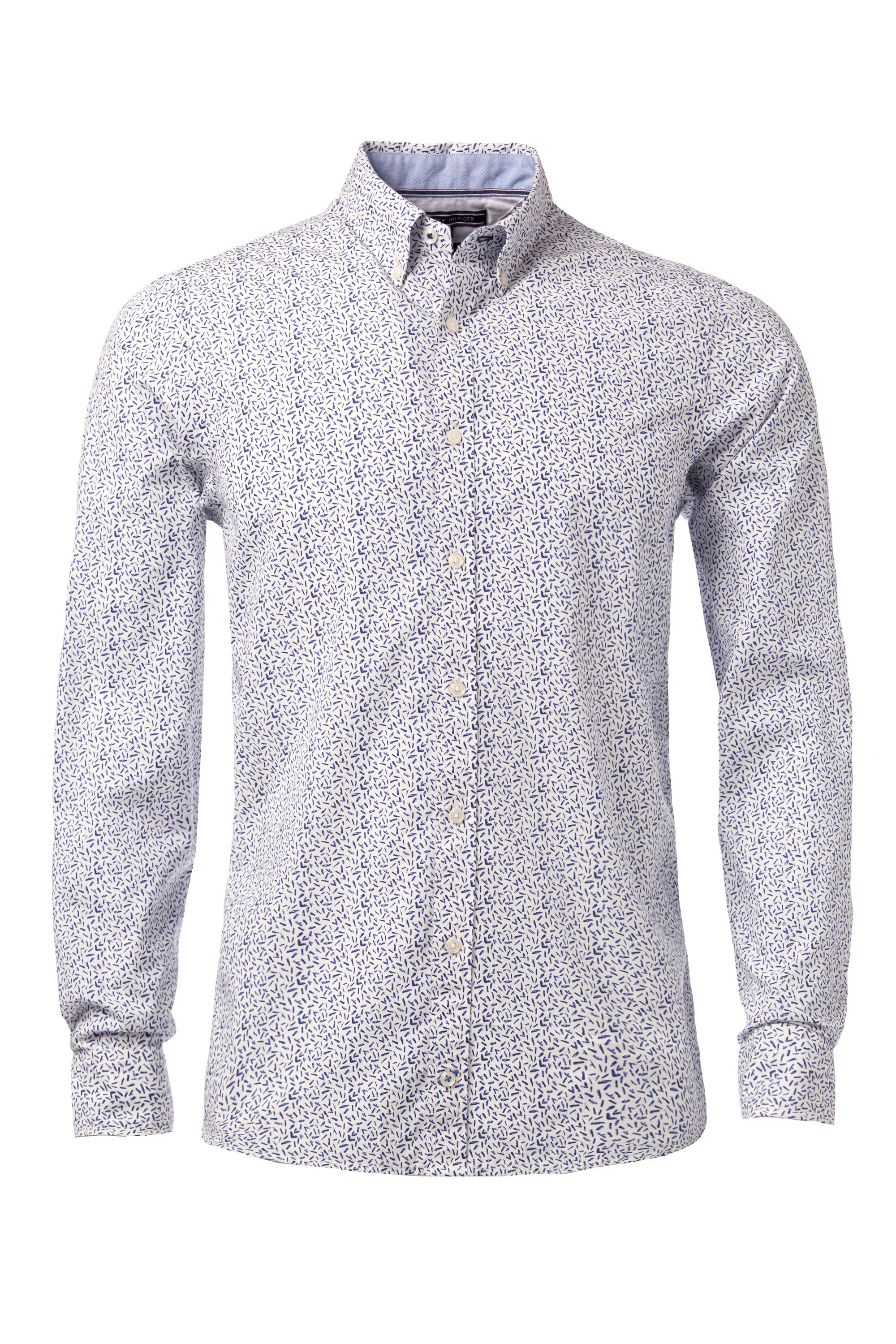 Tommy hilfiger lake pattern long sleeve shirt in white for for Long sleeve shirt pattern