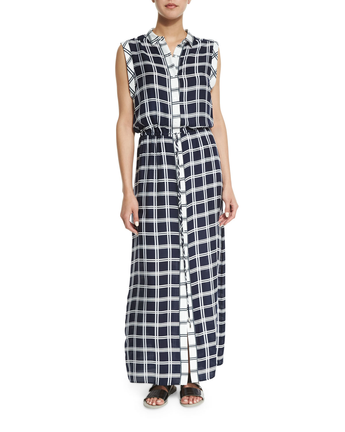 Belted Tartan Plaid Dress breastfeeding islamic clothes maxi dresses breastfeeding friendly Autumn trendy plaid pattern, breastfeeding friendly with buttons along front, below waist pockets for a relaxed touch and drawstring waist to ensure your perfect fit.