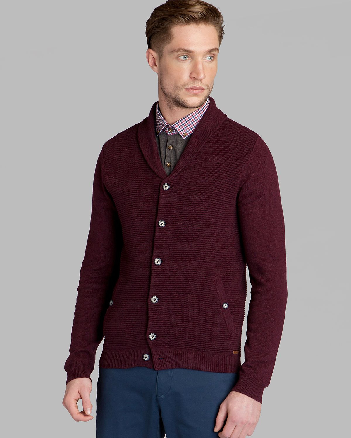 Ted baker Emple Shawl Neck Cardigan in Purple for Men | Lyst