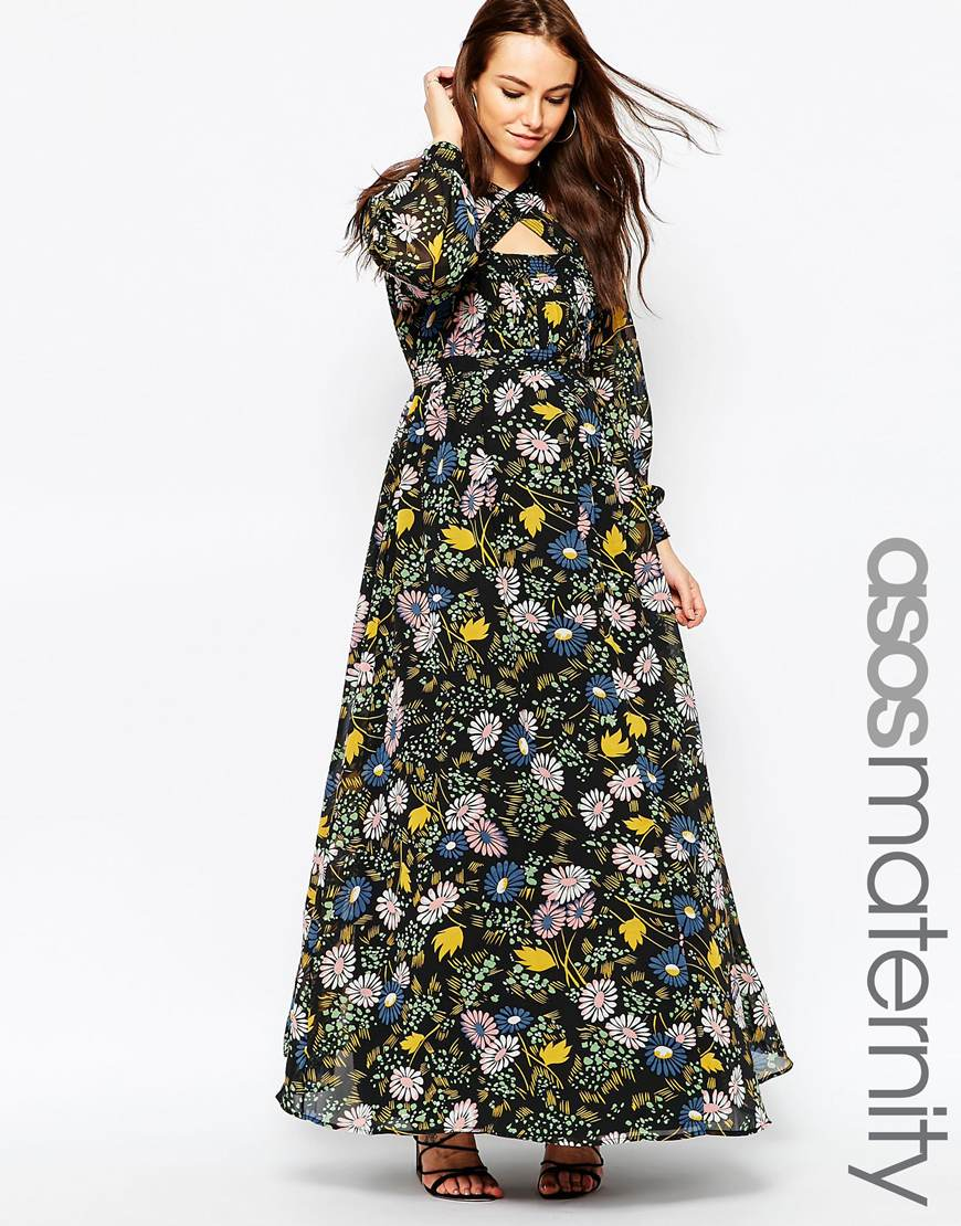 Asos Maxi Dress In Winter Floral - Lyst
