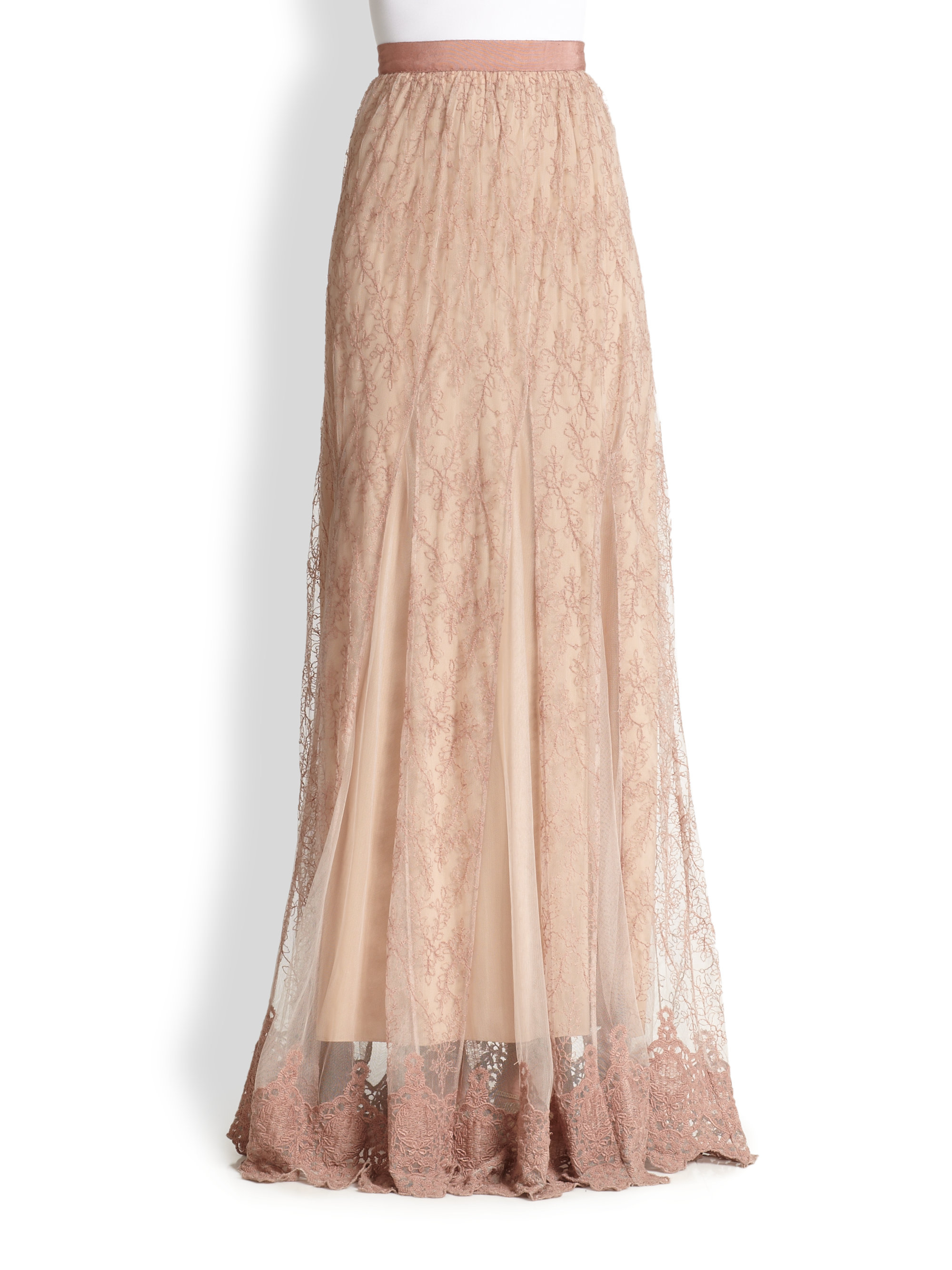 louie emboidered lace maxi skirt in pink lyst