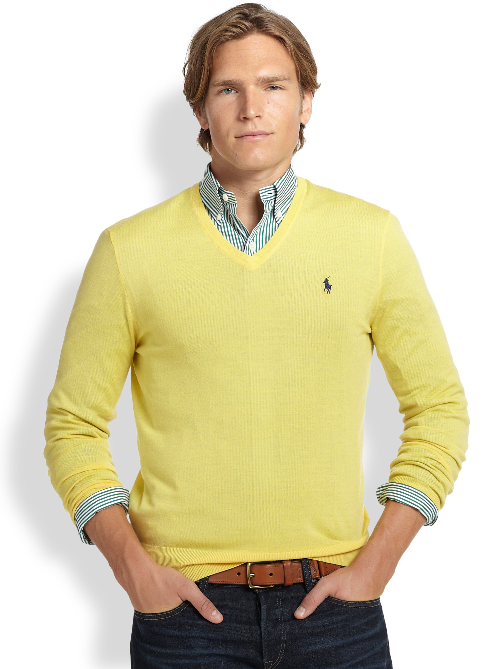 7a6c7e41b8671 Lyst - Polo Ralph Lauren Slim-fit Merino V-neck Sweater in Yellow ...