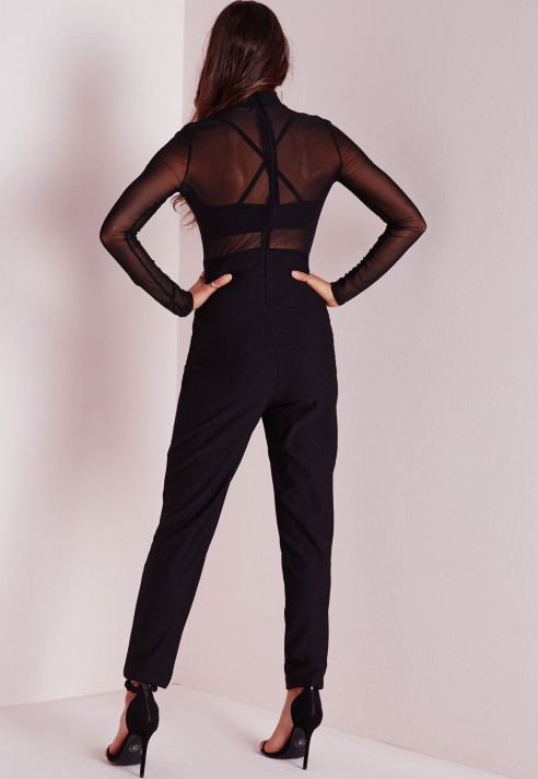 ce6112f004356c Lyst - Missguided Sheer Top High Neck Jumpsuit Black in Black