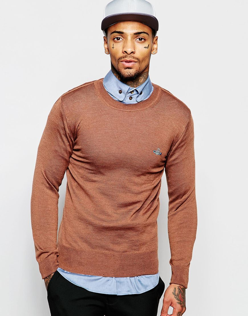 cace7658ba Vivienne Westwood Crew Neck Sweater With Embroidered Logo in Brown ...