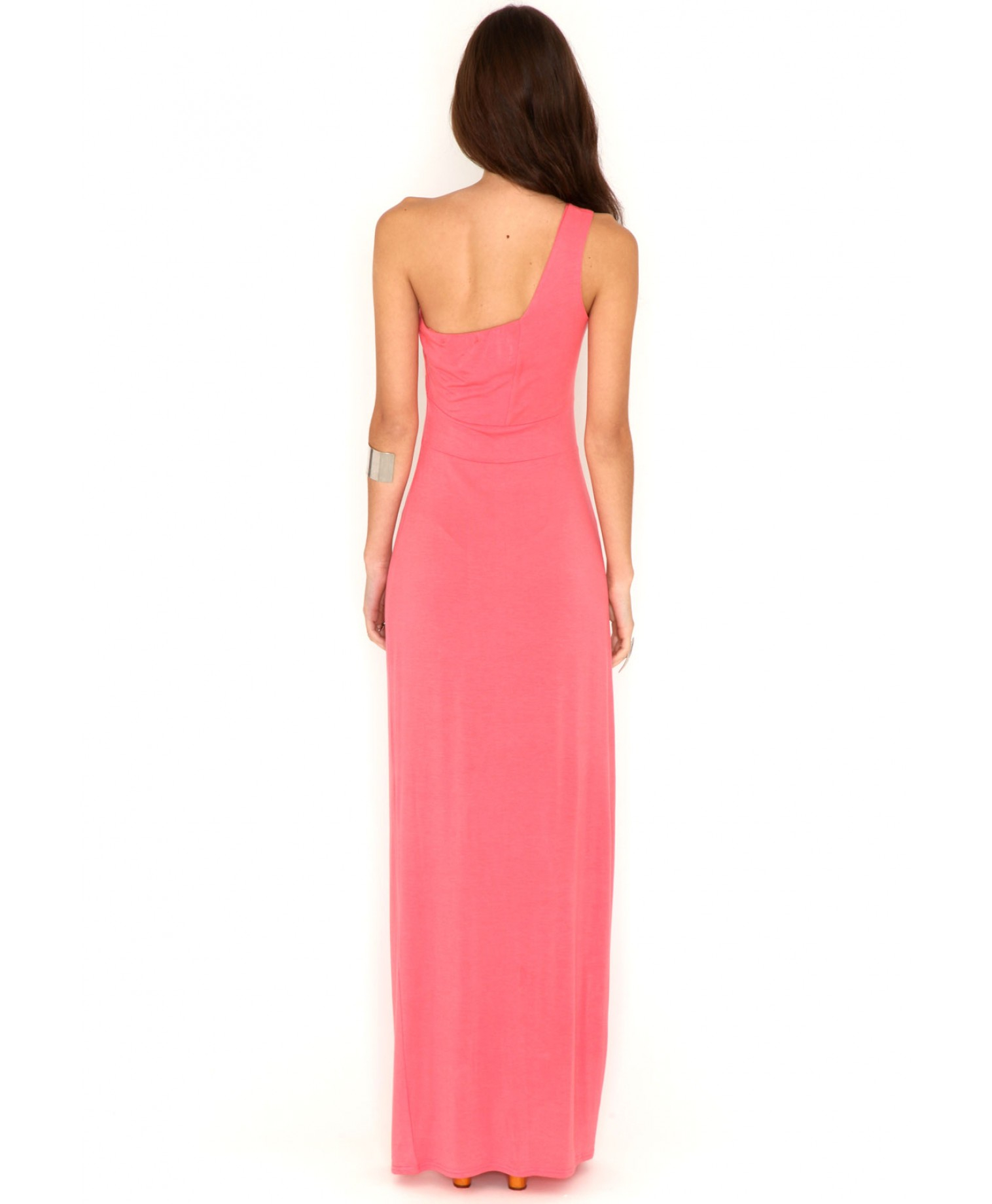 Carniela one shoulder maxi dress in coral