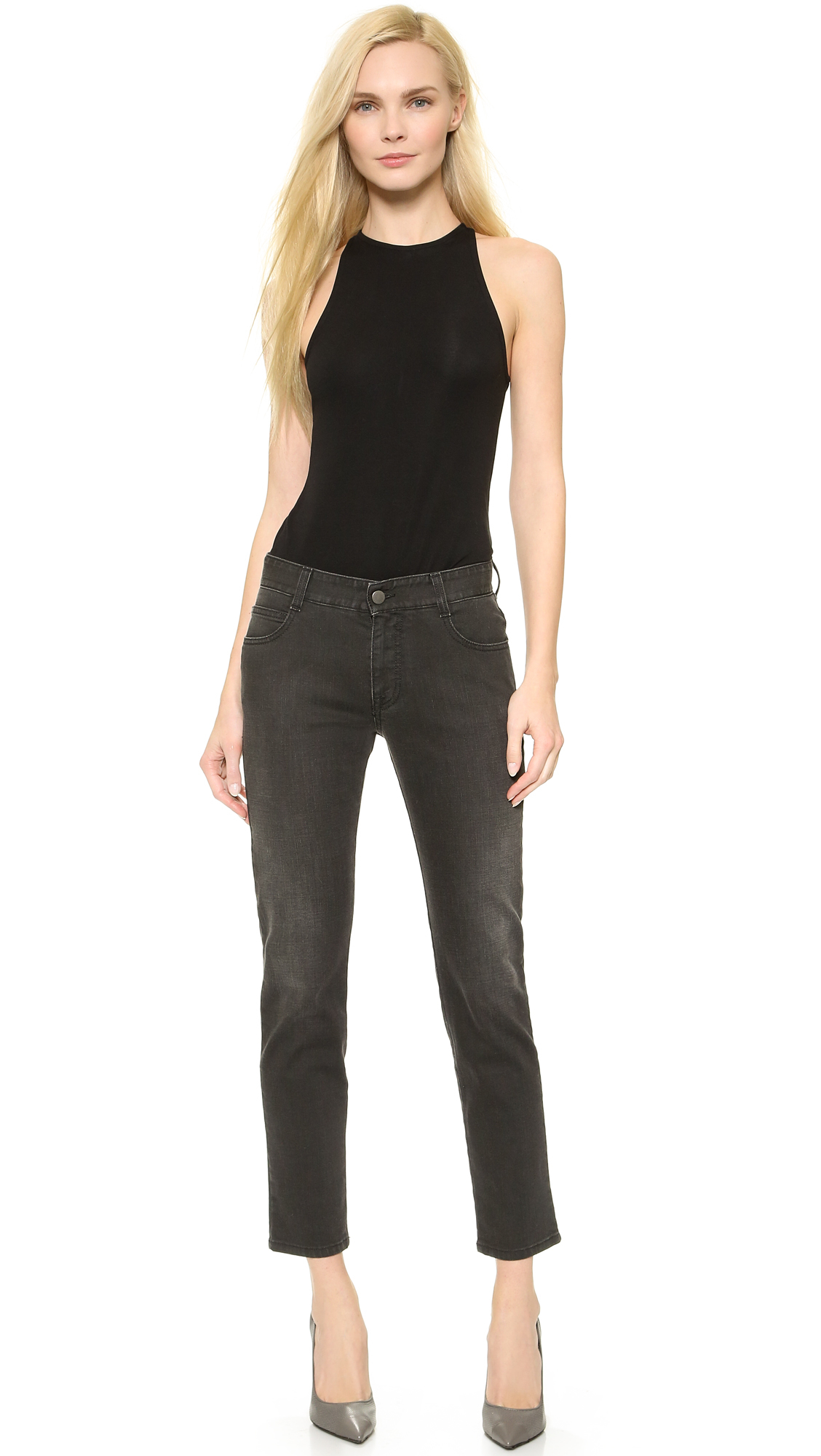 lyst stella mccartney patches embroidery jeans vintage black in