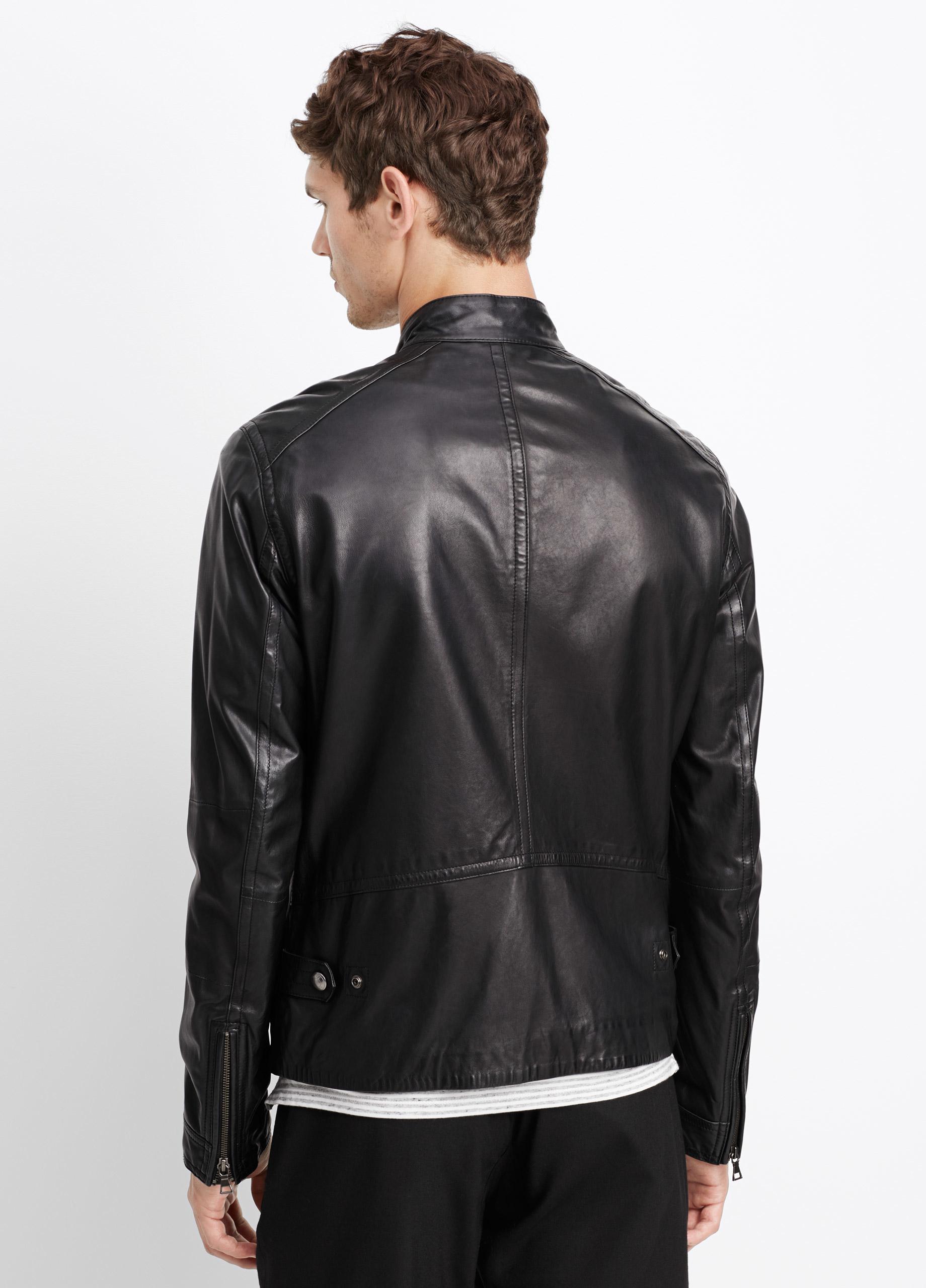 Vince Essential Leather Moto Jacket in Black for Men