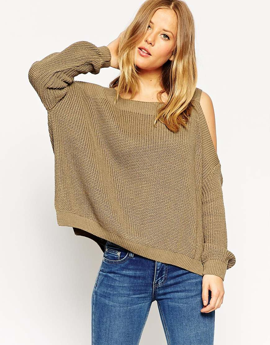 Jumper With Off Shoulder And Full Sleeve - Olive Asos Limited Edition Cheap Online Free Shipping Best pZAzwKXW