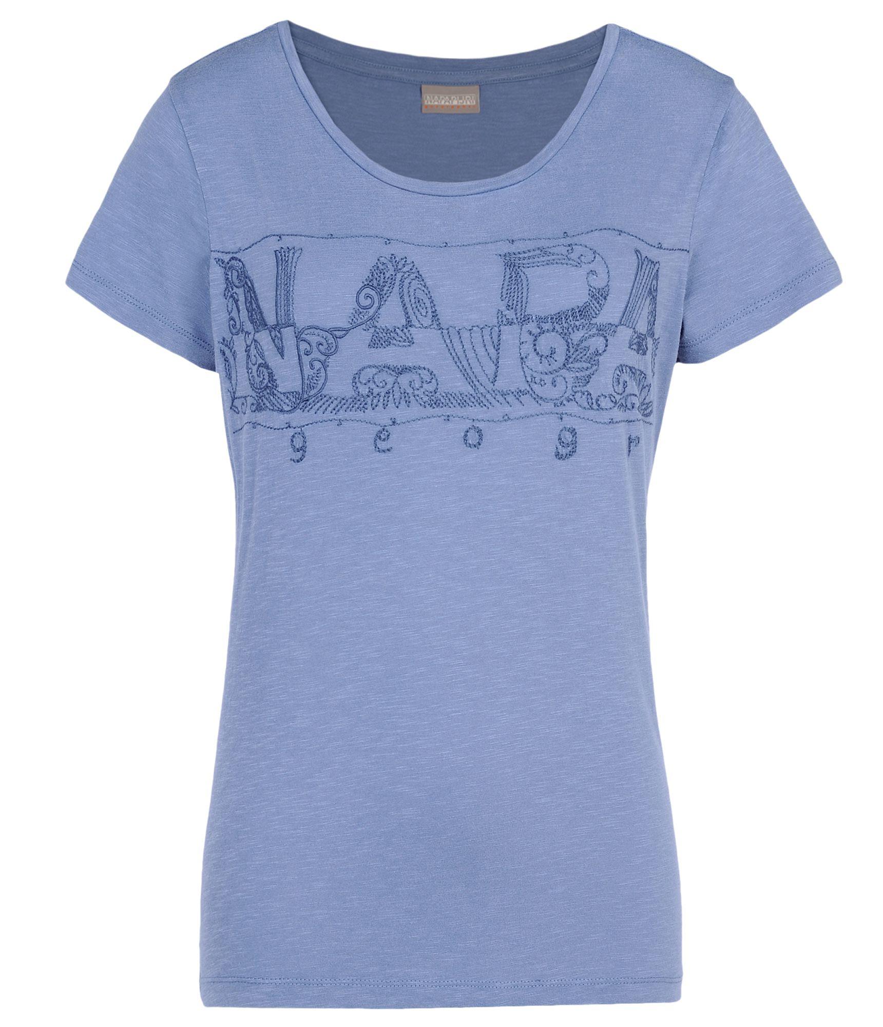 lyst napapijri short sleeve t shirt in blue. Black Bedroom Furniture Sets. Home Design Ideas