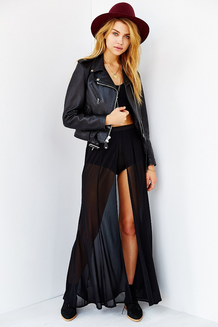 Silence   noise Silence Noise Sheer Brief Maxi Skirt in Black | Lyst