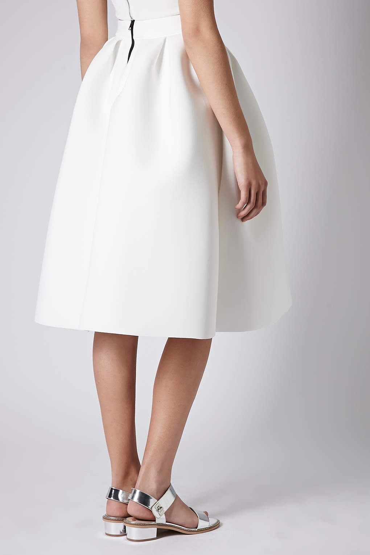 Topshop Pleat Scuba Midi Skirt in White | Lyst