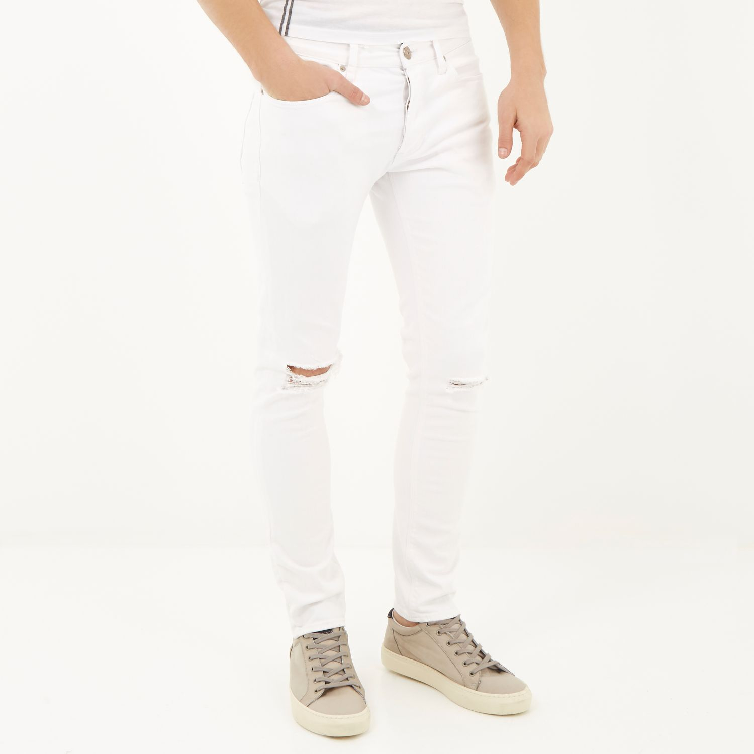 River island White Ripped Eddy Skinny Stretch Jeans in White for