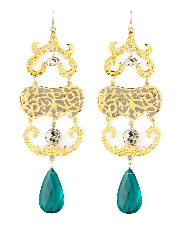 Devon Leigh Quartz & Moonstone Chandelier Earrings 1P31PVx