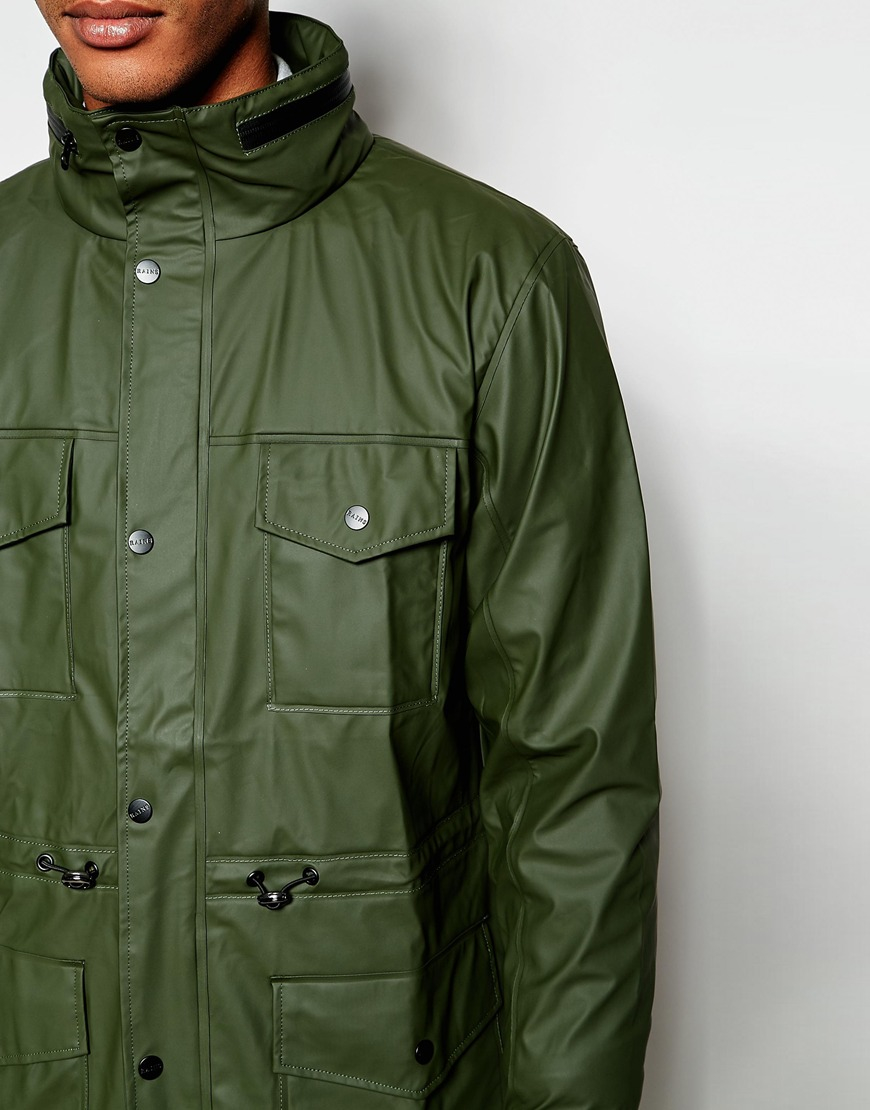 Rains Waterproof Jacket With 4 Pockets in Green for Men | Lyst
