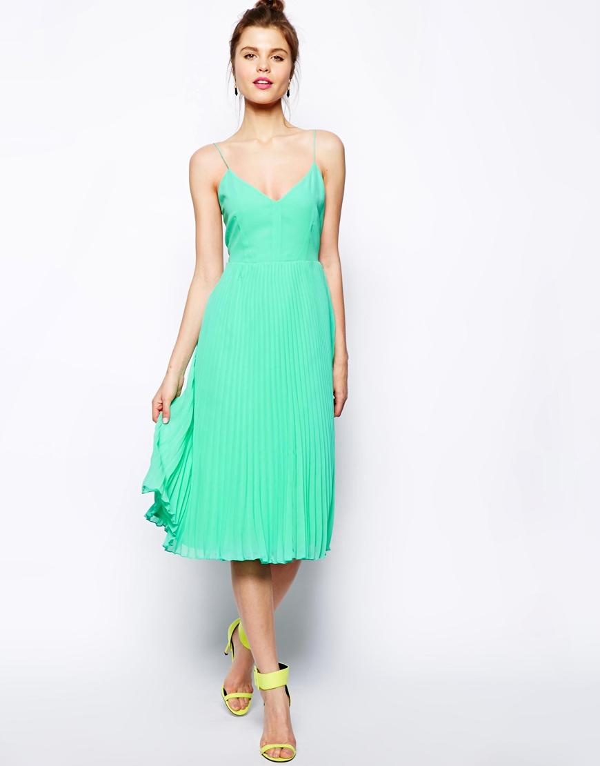 Lyst - Asos Pleated Cami Midi Dress in Green