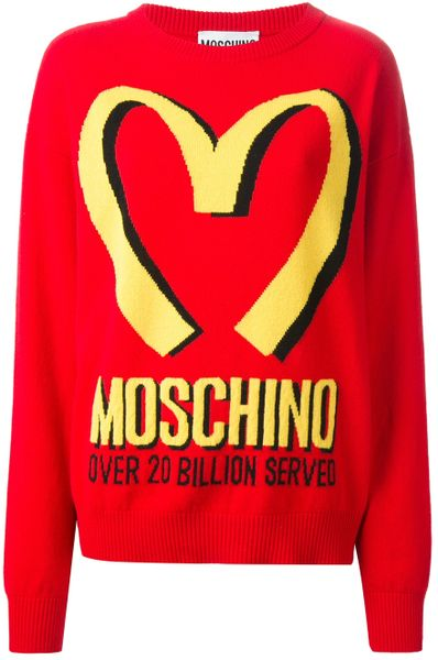 Moschino Oversized Logo Sweater in Red | Lyst