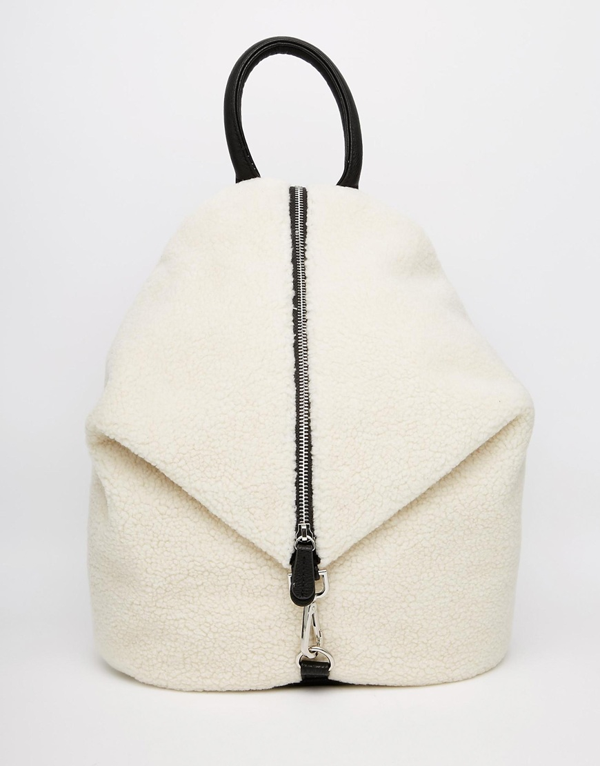 Asos Front Zip Backpack With Dog Clip In Faux Shearling in Natural ...