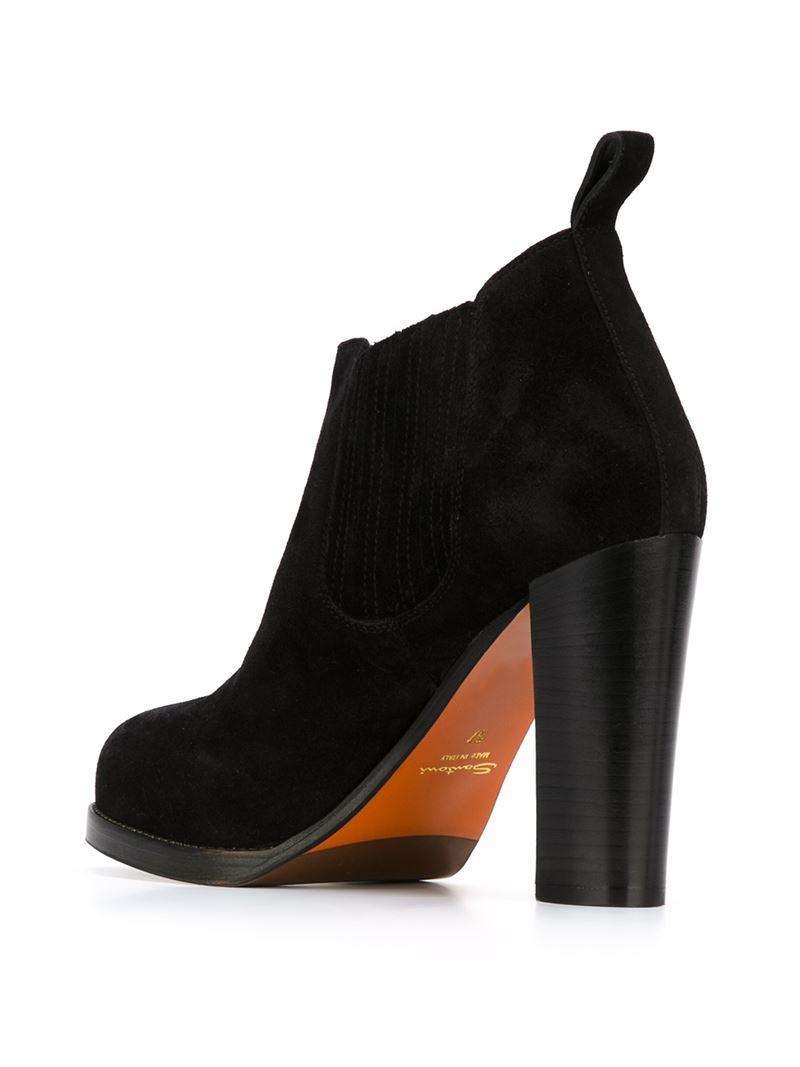 santoni chunky heel boots in black lyst