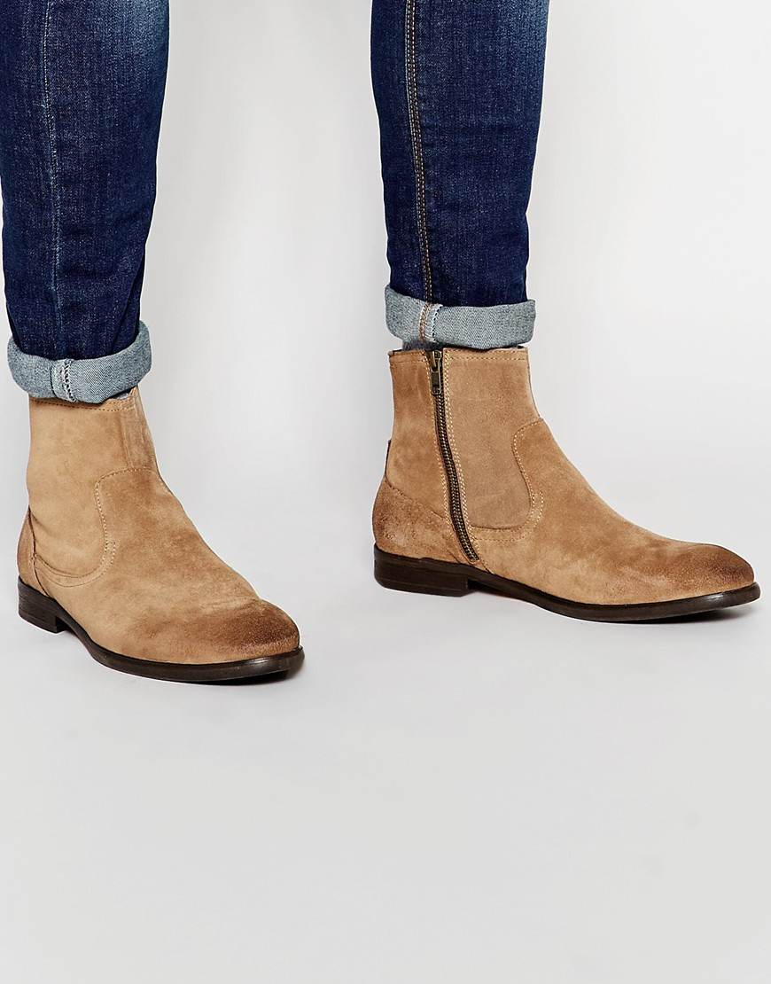 h by hudson plant suede zip boots in for lyst