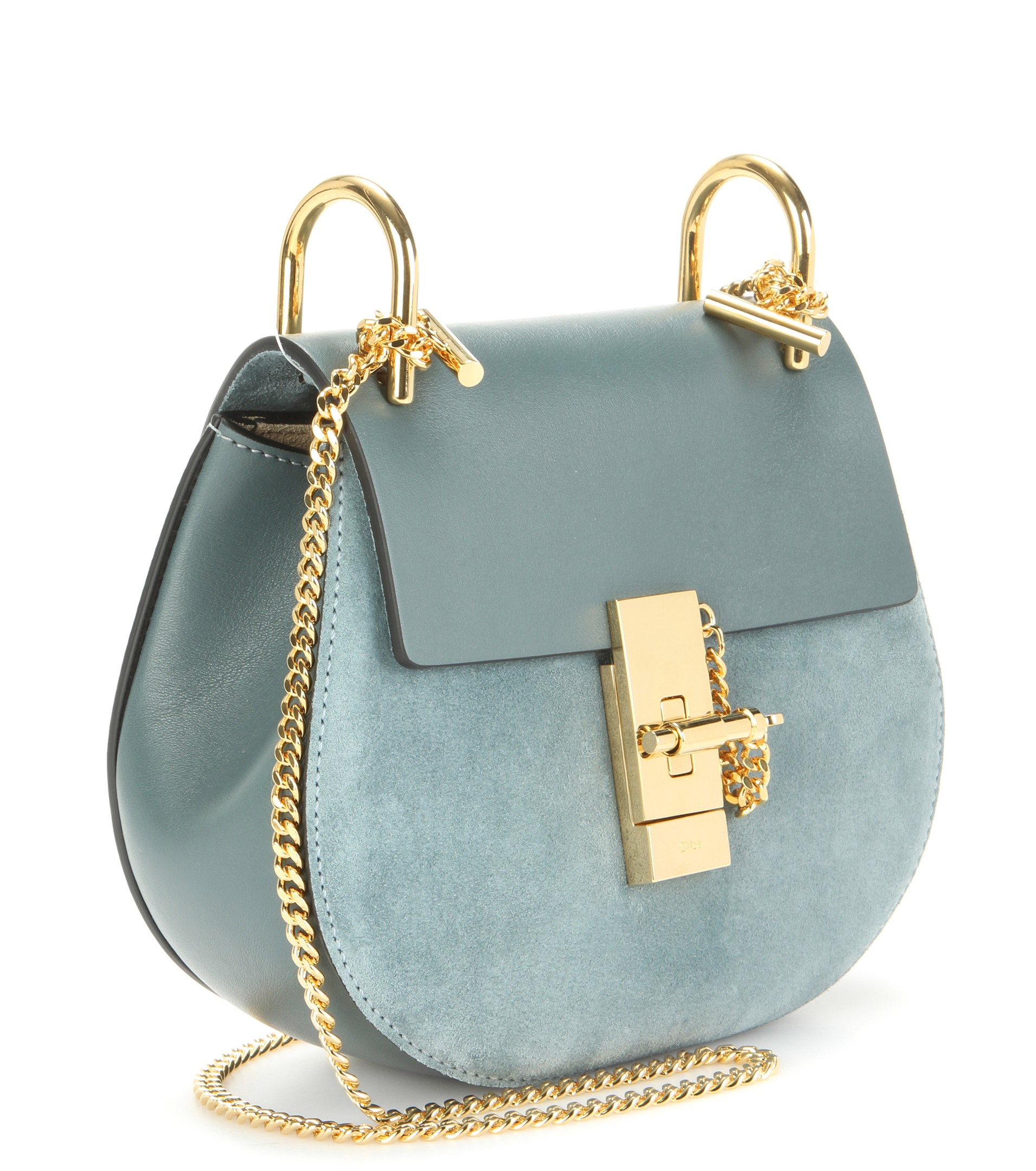 replica chloe handbags - Chlo�� Drew Leather And Suede Shoulder Bag in Blue | Lyst