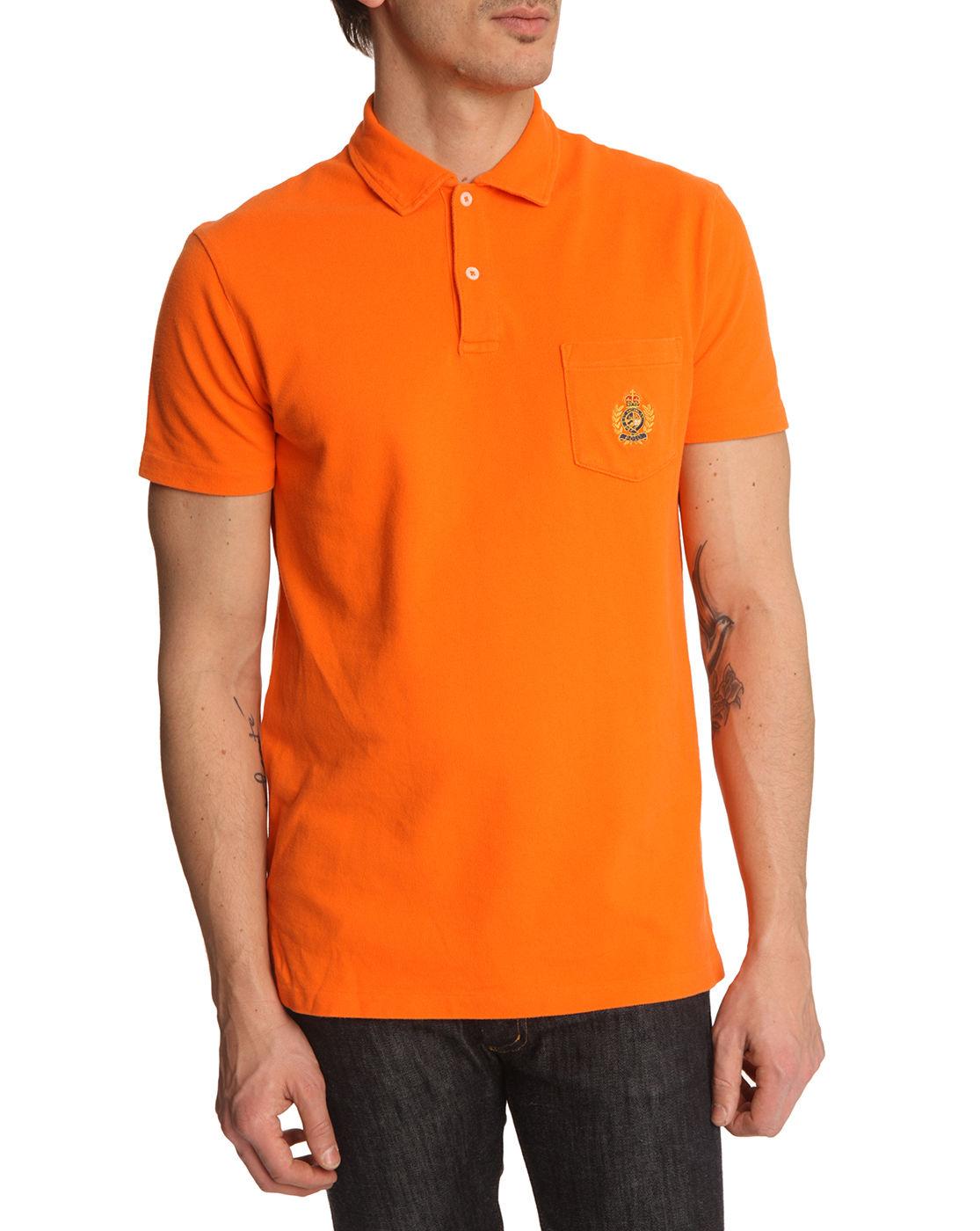 Polo ralph lauren orange polo shirt in orange for men lyst for Orange polo shirt mens