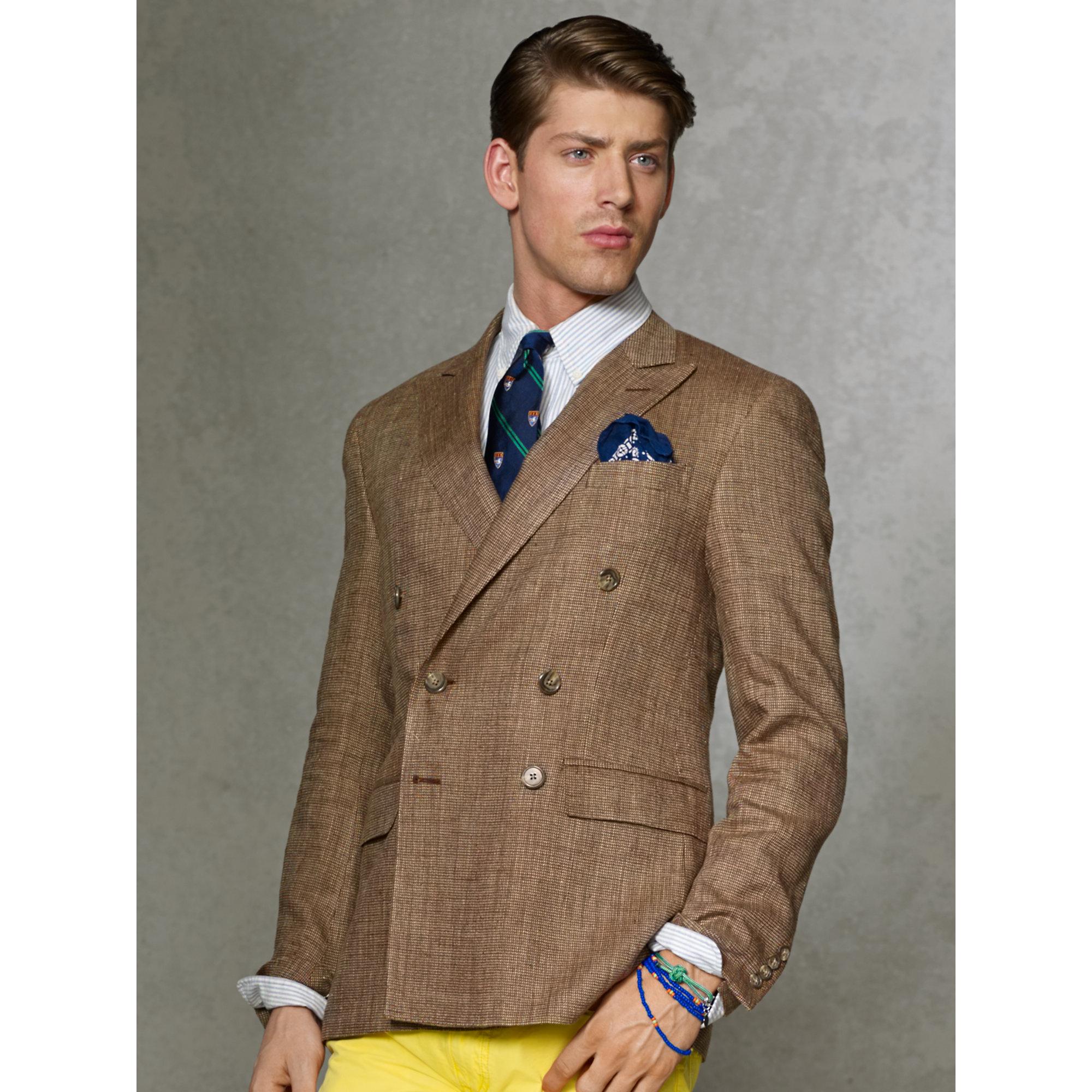 Polo ralph lauren Double-Breasted Sport Coat in Brown for Men | Lyst