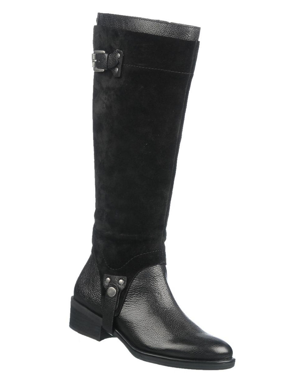 franco sarto bevel wide calf leather and suede boots in
