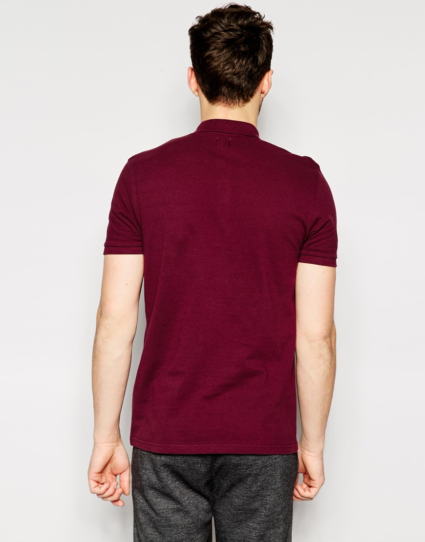 Asos Polo Shirt In Pique With Button Down Collar In Purple