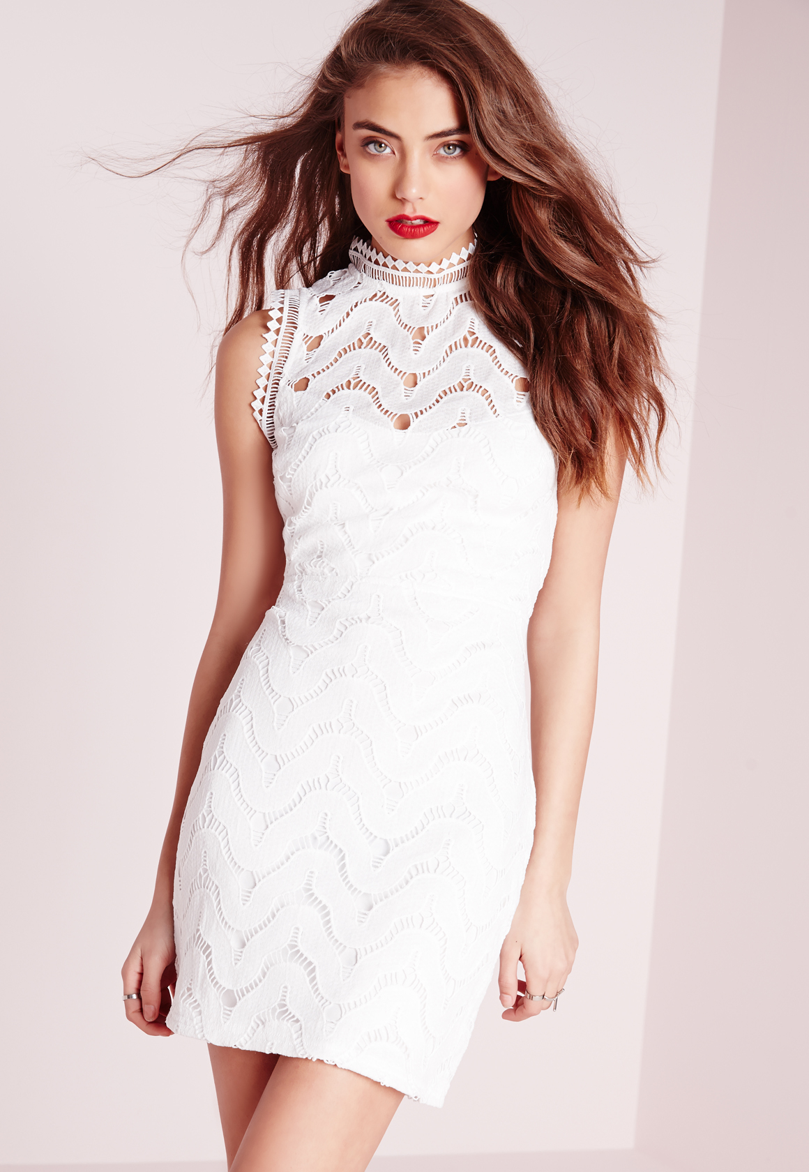 b29c49144be5 Lyst - Missguided Lace Back High Neck Mini Dress White in White