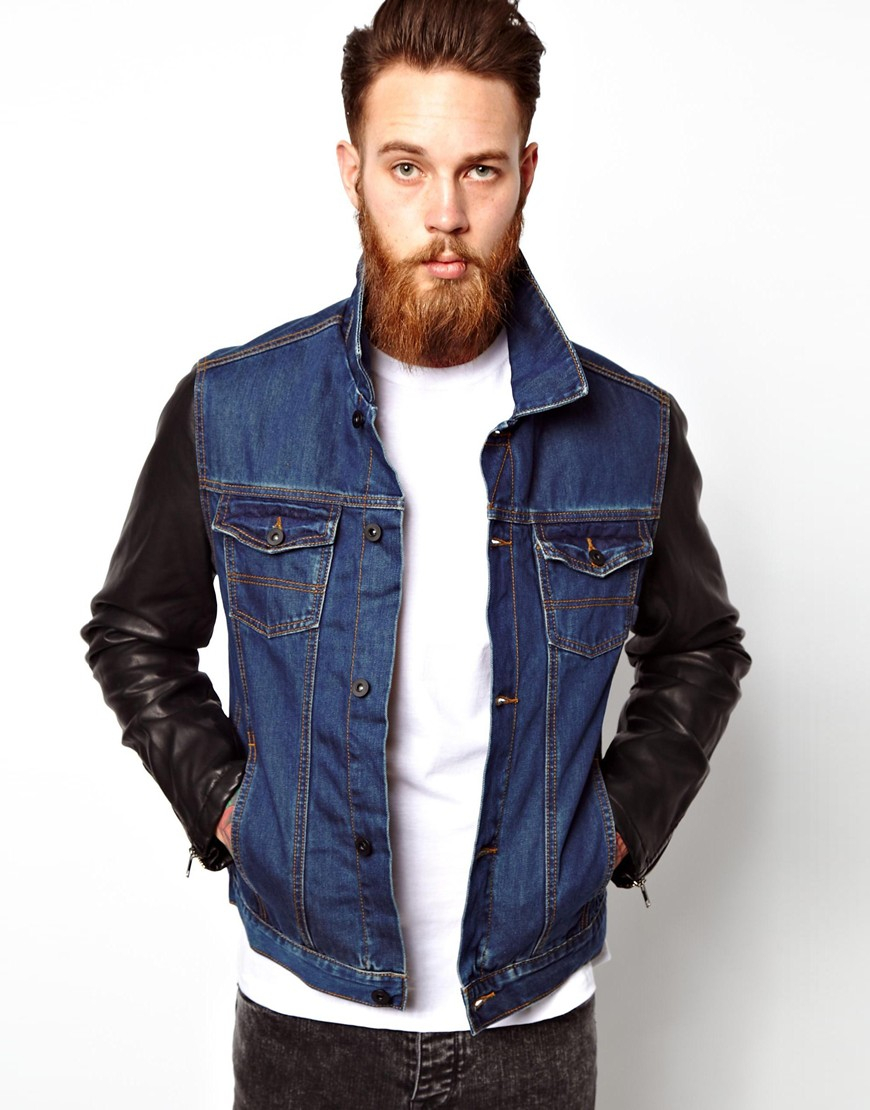 Asos Denim Jacket With Leather Look Sleeves in Blue for Men | Lyst
