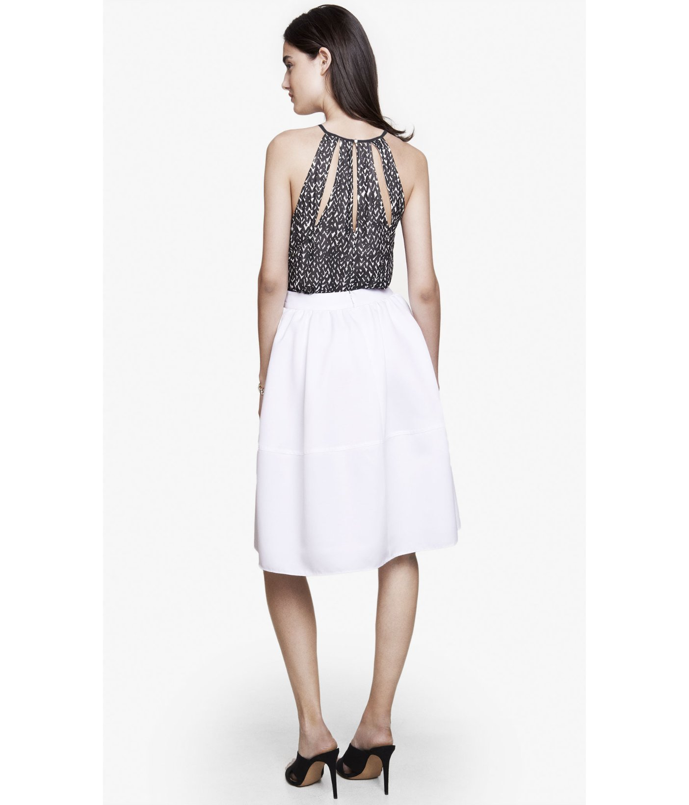 express white high waist midi skirt in white lyst