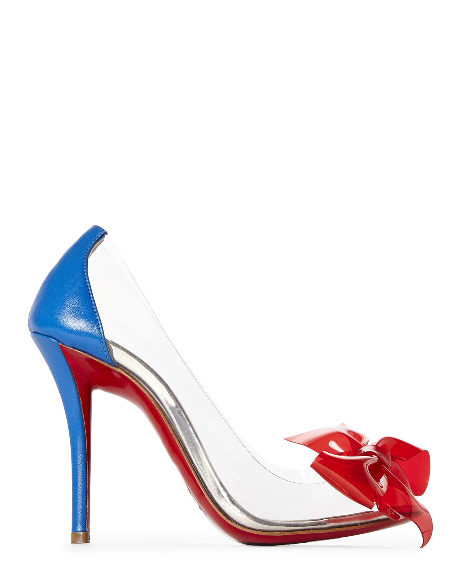 93be3efb27d ... good lyst christian louboutin clear pvc bow pumps in red 90e24 d9b7d