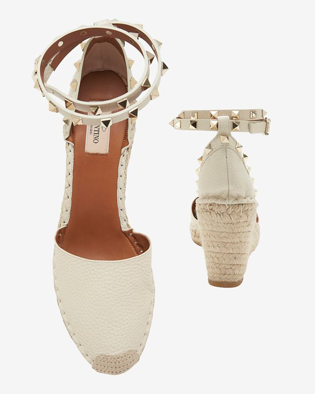 4b28839984ed Lyst - Valentino Rockstud Ankle Strap Wedge Espadrille  Ivory in White
