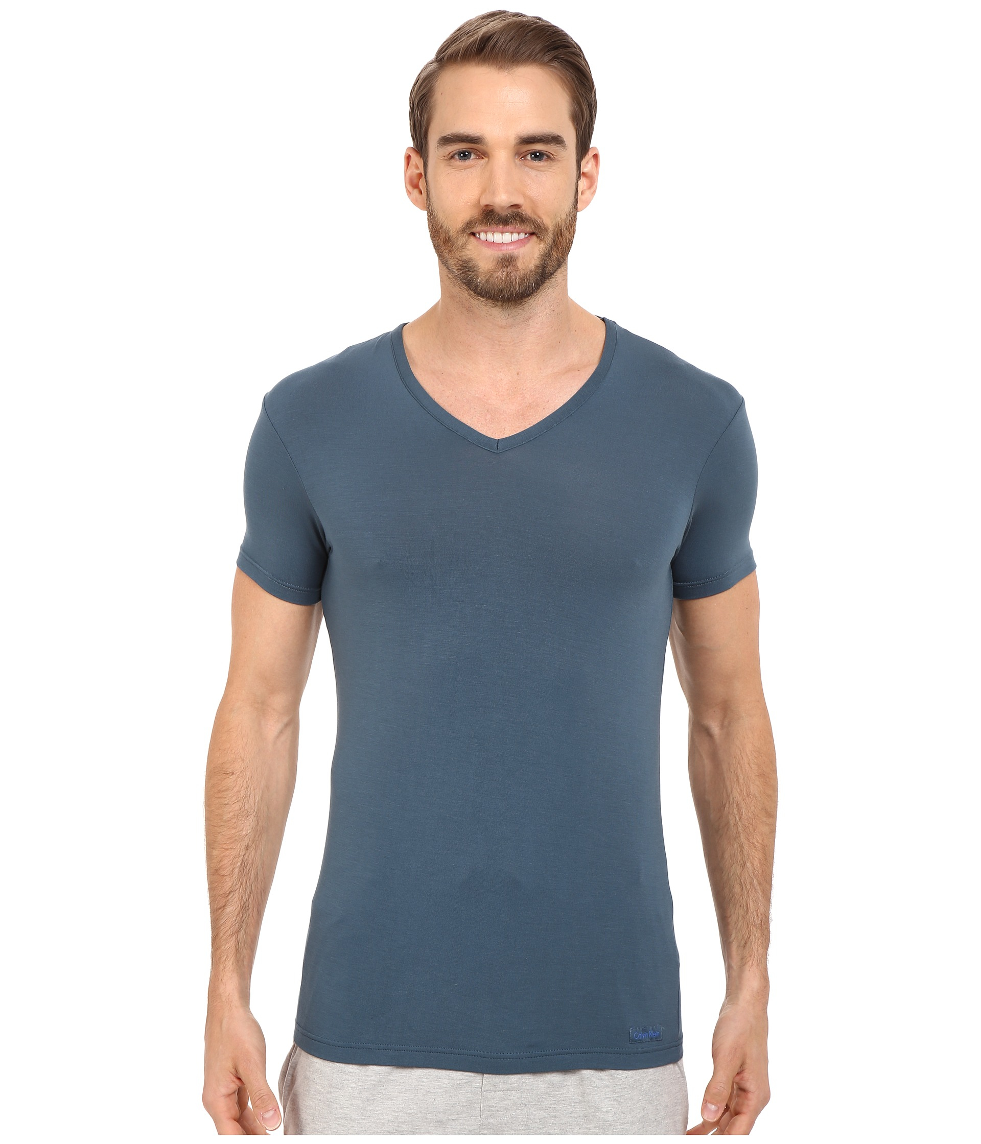 Calvin klein body micro modal s s v neck u5563 in blue for for Modal t shirts mens