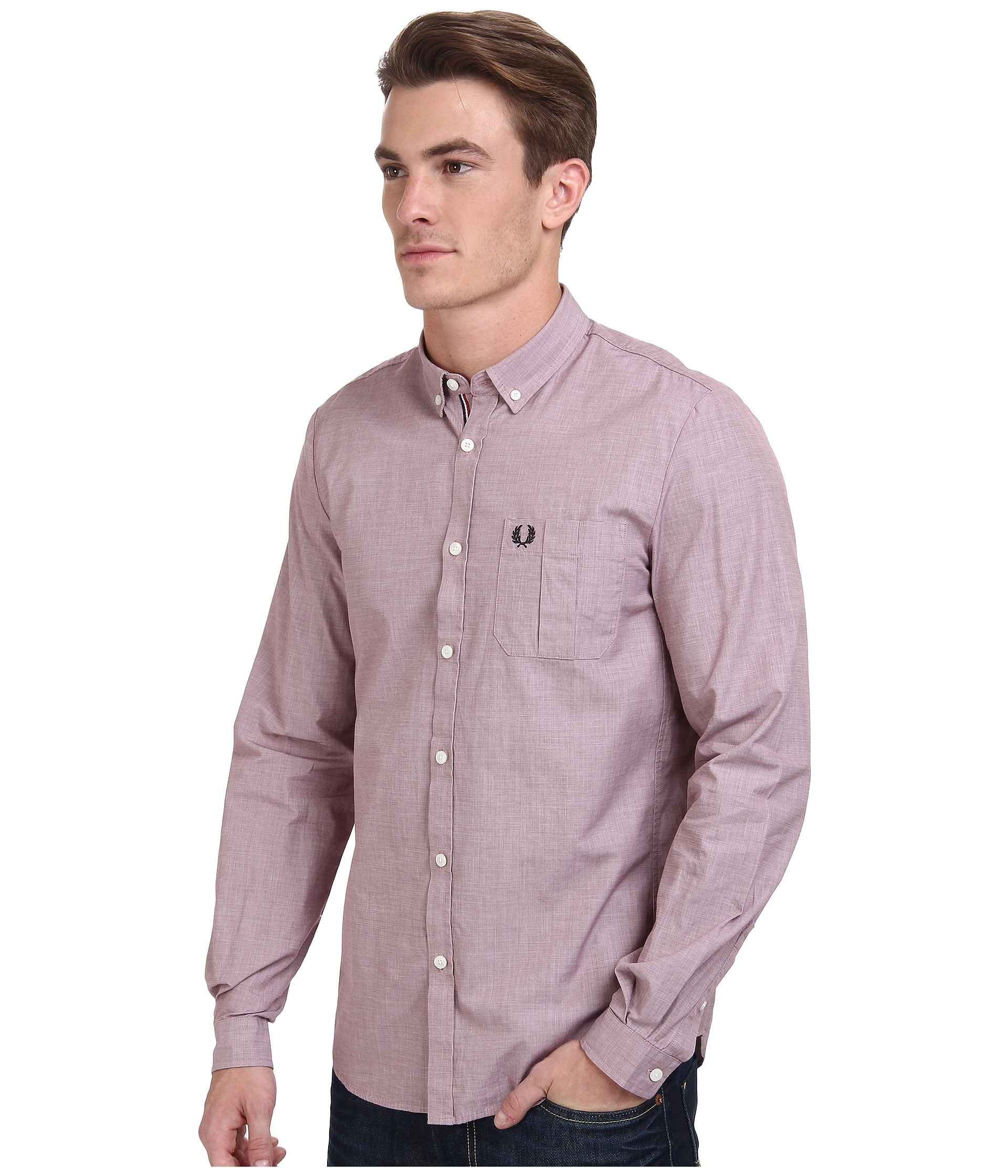 Lyst - Fred perry End On End Shirt in Red for Men