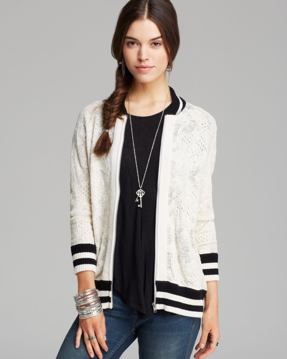 Free people Jacket - Team Flower Baseball Track in White | Lyst