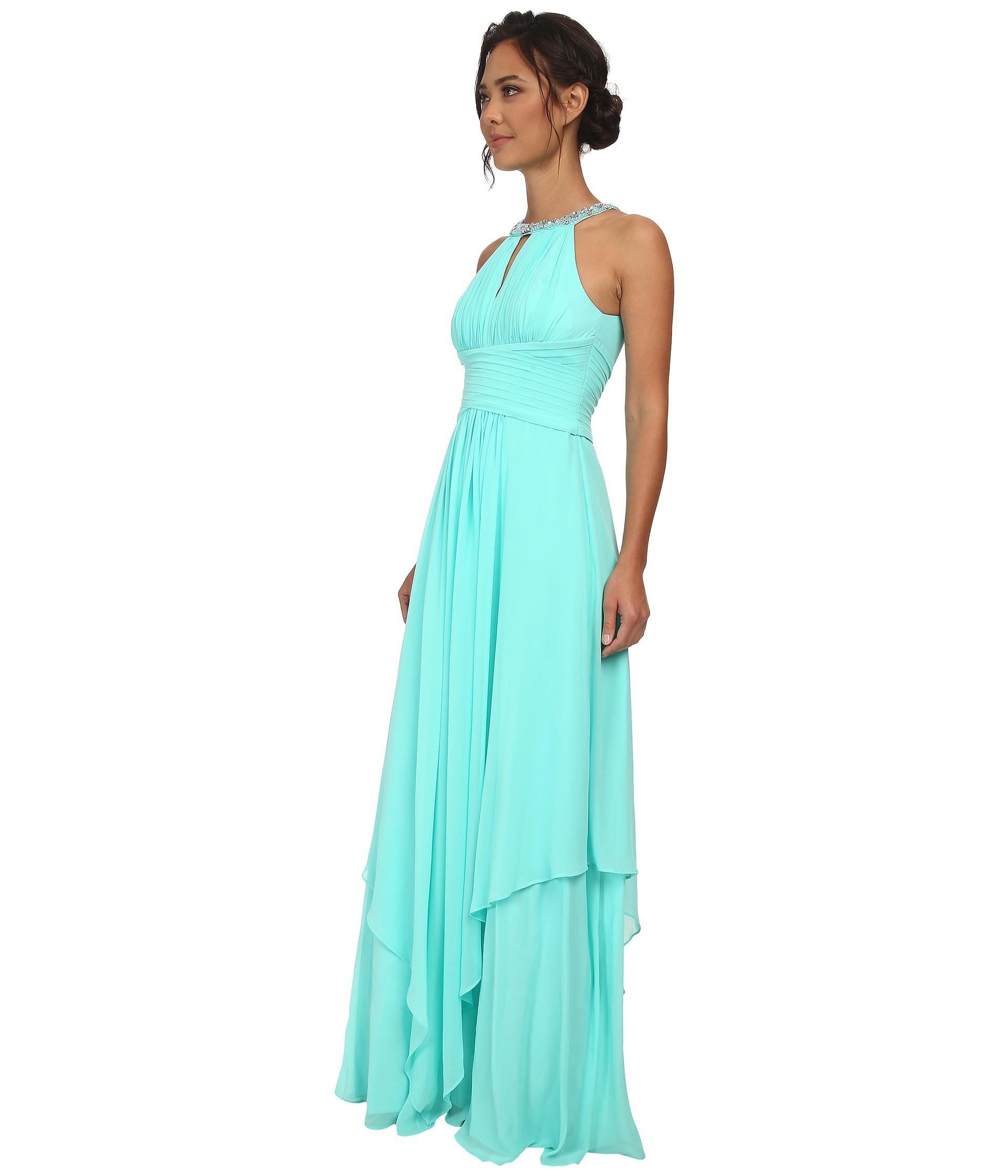 Lyst - Donna Morgan Siena Beaded Halter Long Gown Dress in Blue
