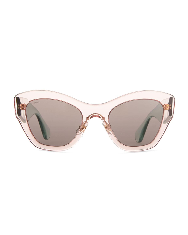 Miu miu Clear Plastic Cateye Sunglasses in Pink | Lyst