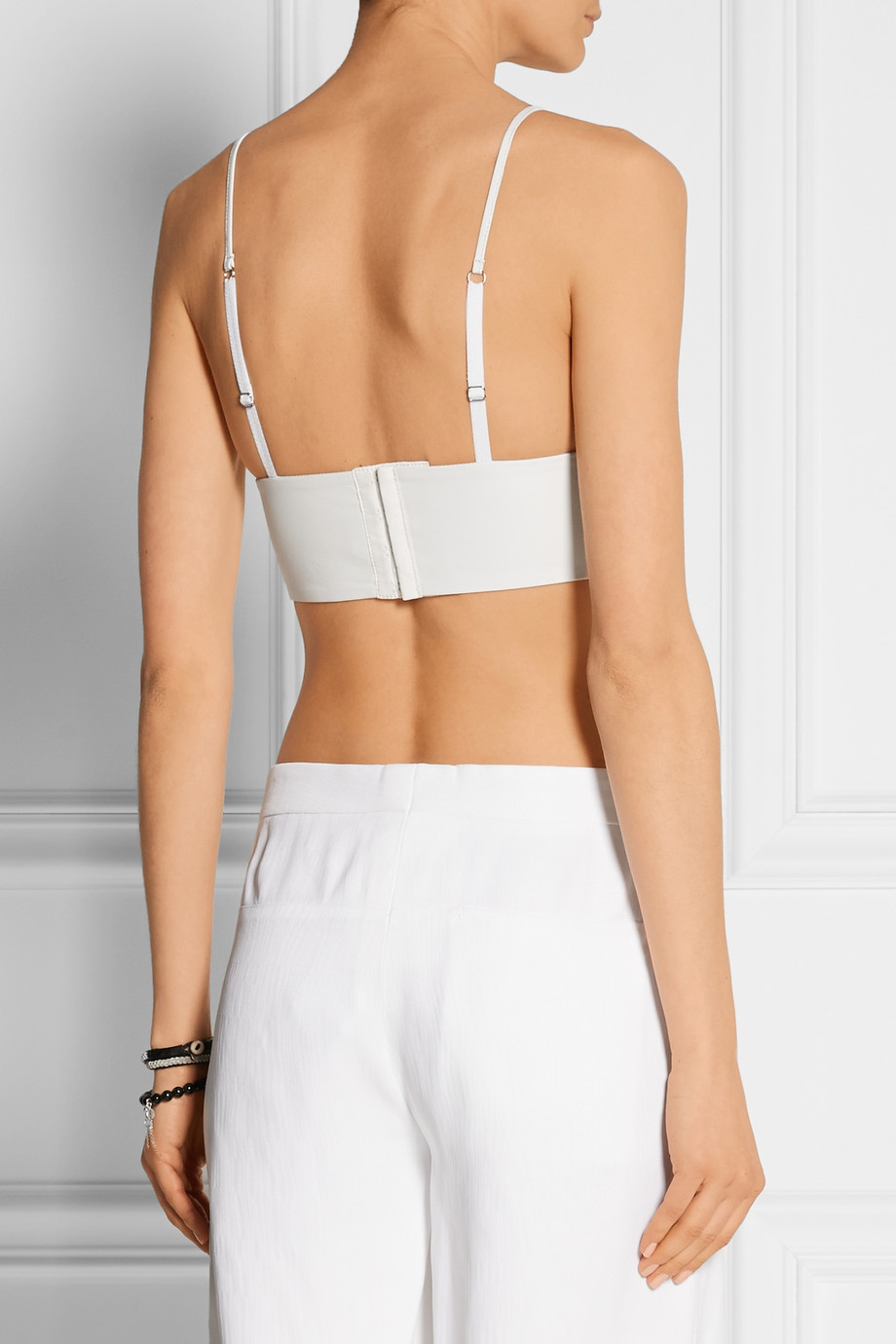 69bb39229 T By Alexander Wang Leather Bra Top in White - Lyst