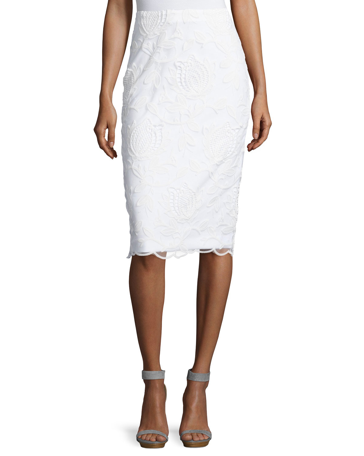 philosophy lace pencil skirt in white lyst