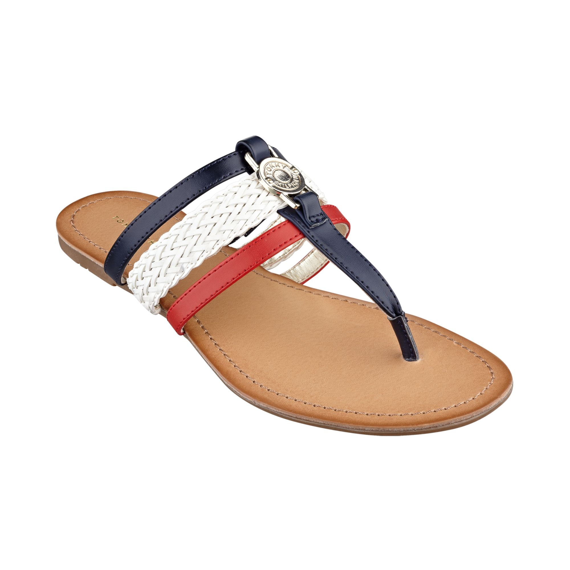 Tommy Hilfiger Womenu0026#39;S Liz Thong Sandals In Multicolor (Red/White/Blue) | Lyst