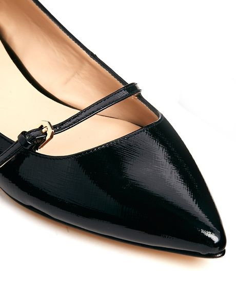 Dune Mahilda Mary Jane Pointed Flat Shoe in Black ...