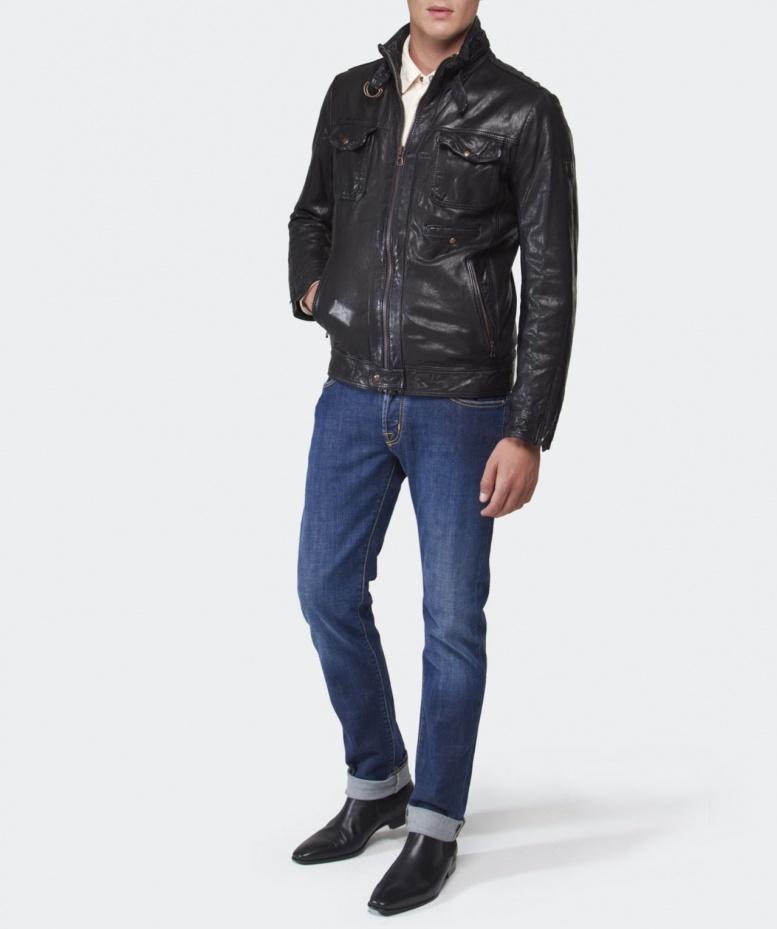 boss leather jacket men Hugo orange