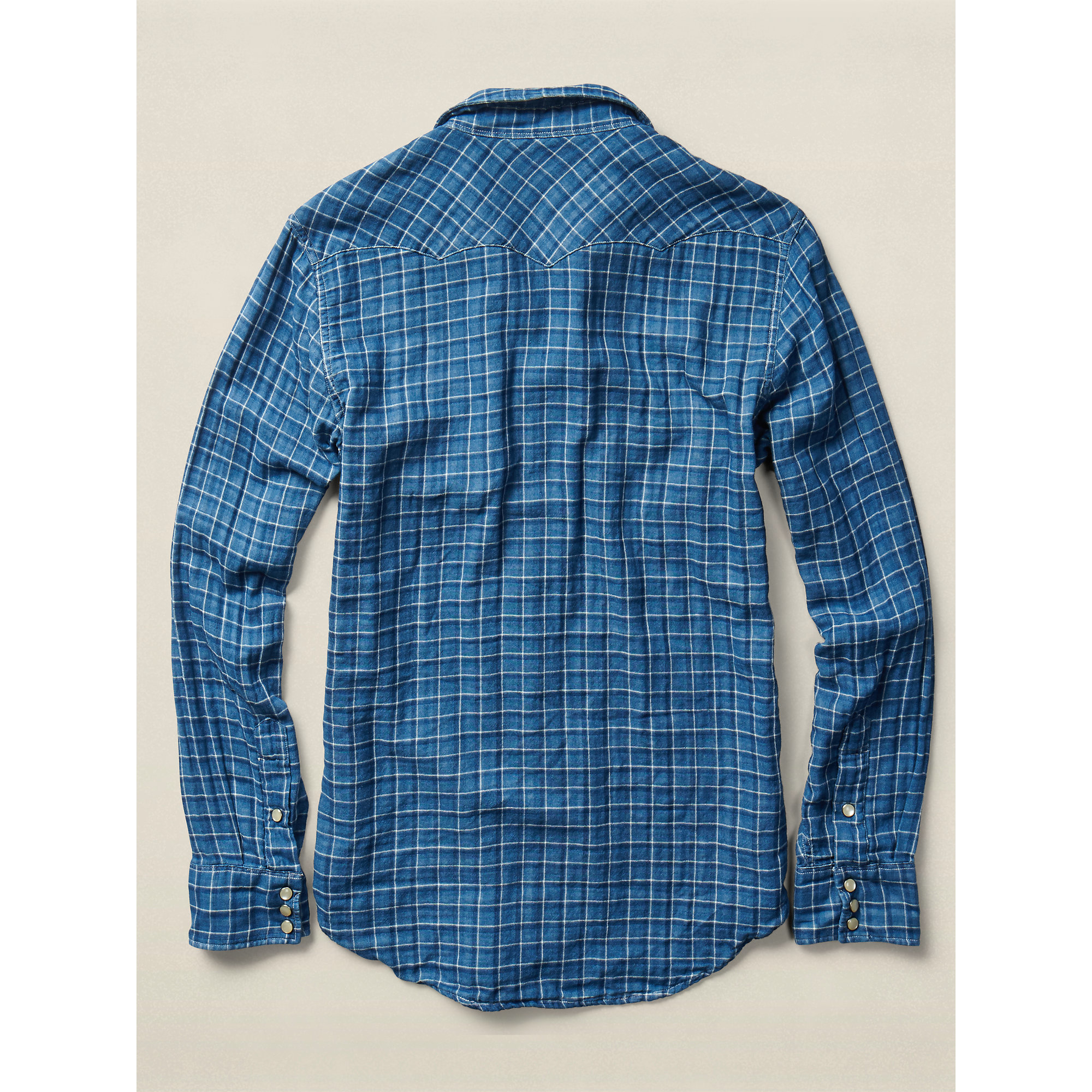 Rrl slim buffalo cotton workshirt in blue for men lyst for Blue cotton work shirts