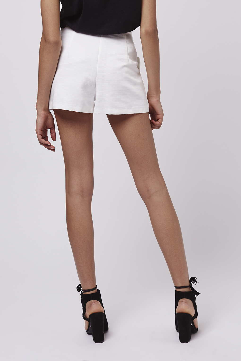 Topshop High-waisted Zip Shorts in White | Lyst