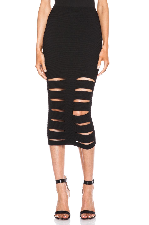 Cushnie et ochs Slashed Knit Rayon-blend Skirt in Black | Lyst