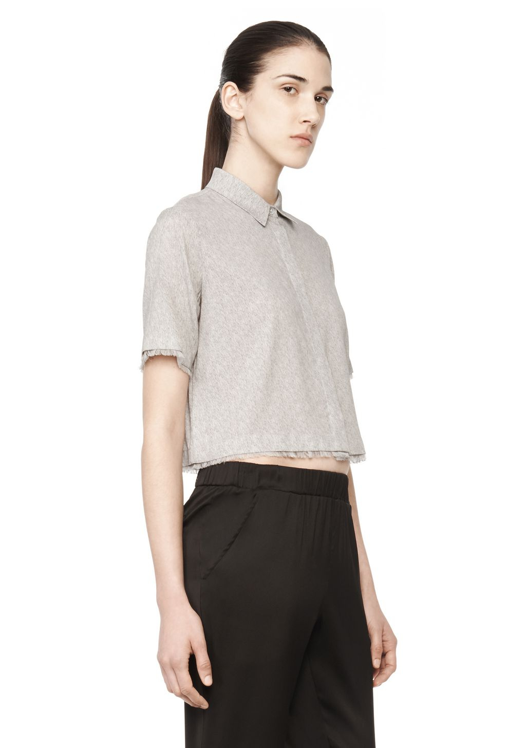 Lyst Alexander Wang Cropped Silk Collared Shirt In Gray